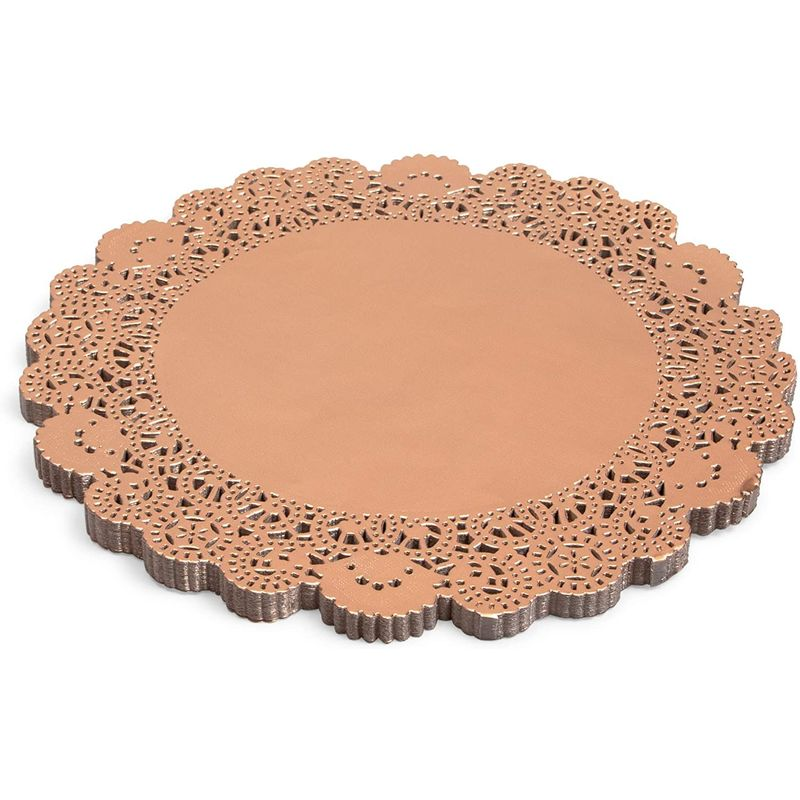 Lace Paper Doilies, Rose Gold Foil Placemats (10 In, 100 Pac