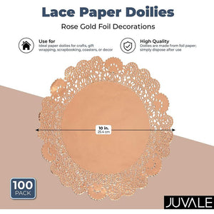 Lace Paper Doilies, Rose Gold Foil Placemats (10 In, 100 Pack)