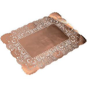Lace Paper Doilies, Rose Gold Foil Placemats (14 x 10 In, 60 Pack)