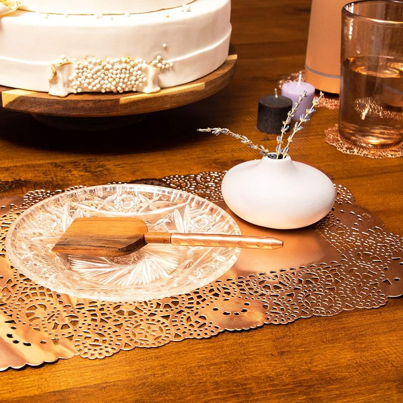 Lace Paper Doilies, Rose Gold Foil Placemats (14 x 10 In, 60
