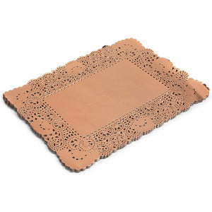 Lace Paper Doilies, Rose Gold Foil Placemats (16 x 12 Inches, 60 Pack)