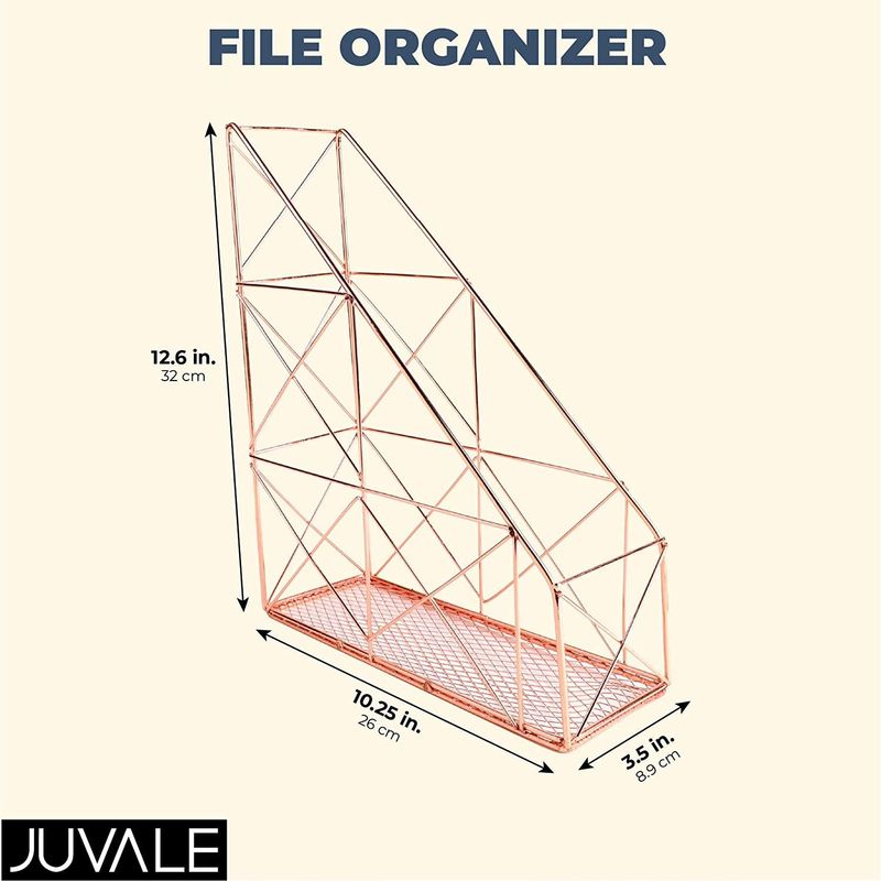 Juvale Rose Gold File Organizer, Mail Sorter (3.5 x 10.25 x
