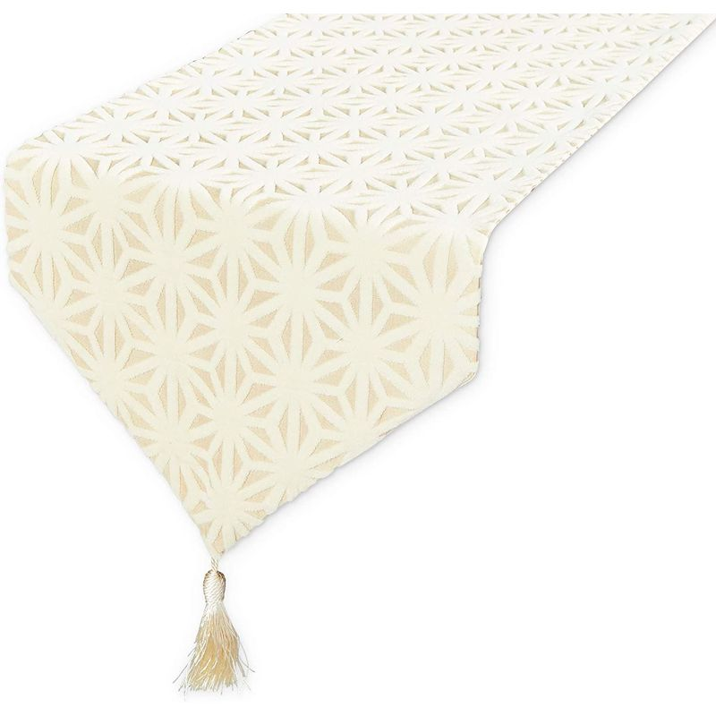 Dining Table Runner with Tassels, Geometric Jacquard Weave (Beige, 12 x 78 in)