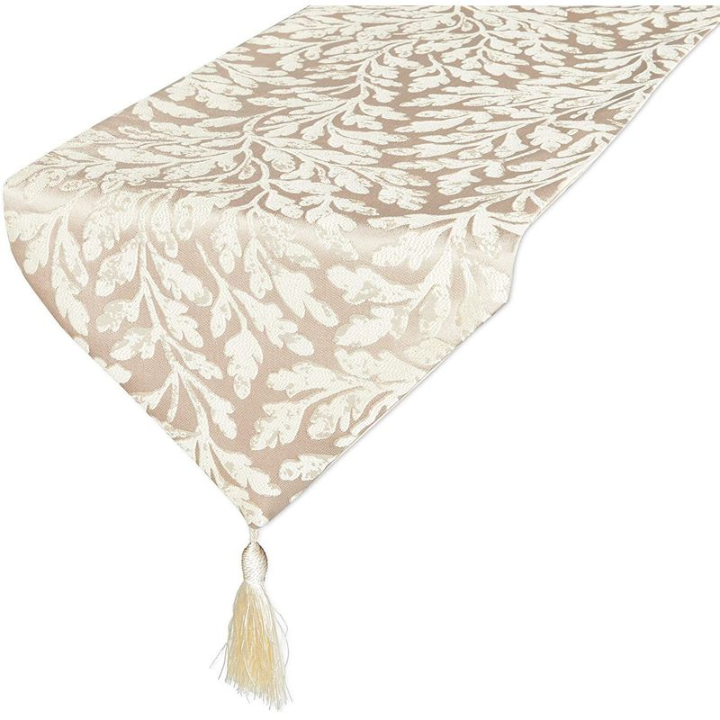 Table Runner with Tassels, Beige Leaf Jacquard Weave (12 x 78 in)