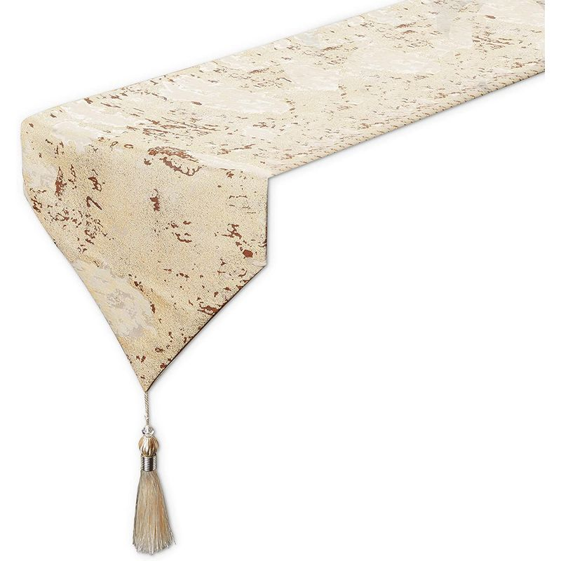 Juvale Dining Table Runner with Tassels, Beige Metallic Weave (12 x 78 Inches)