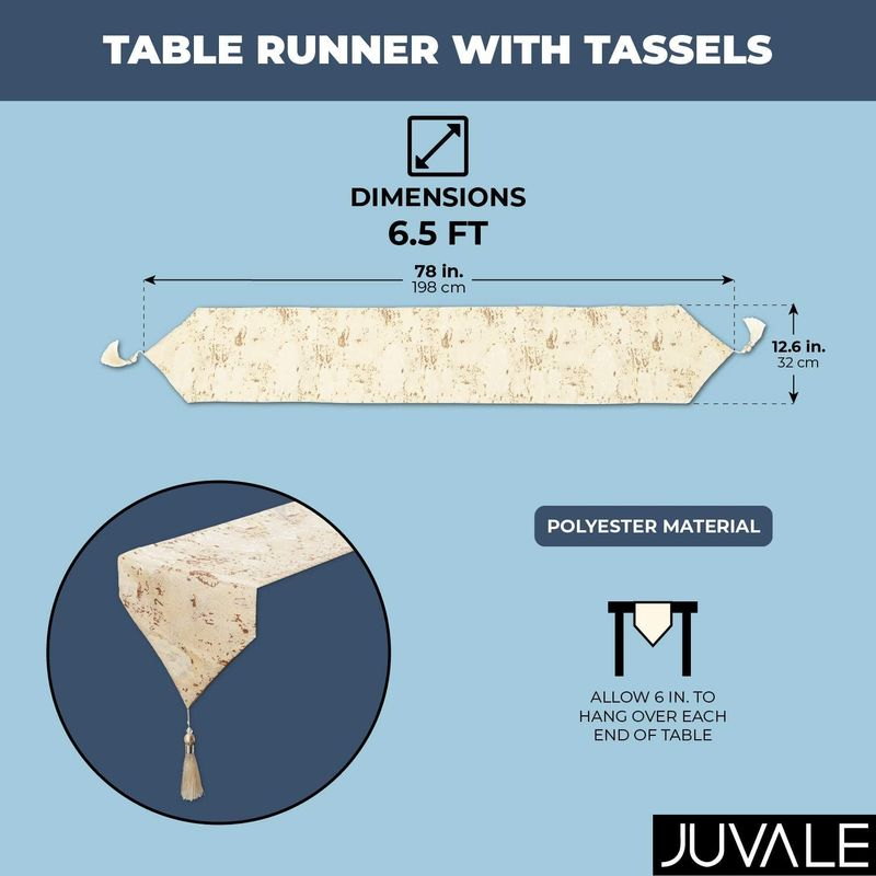 Juvale Table Runner with Tassels (Beige, 12 x 78 in.) 3#