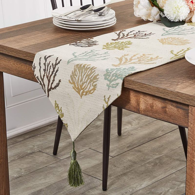 Juvale Table Runner with Tassels (Beige, 12 x 78 in.) 4#