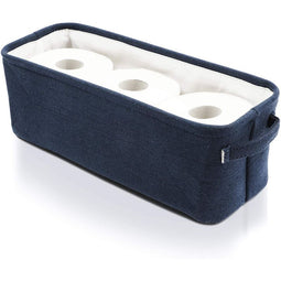 Juvale Dark Blue Fabric Storage Bin for Home and Bathroom (16 x 6 x 5.5 Inches)