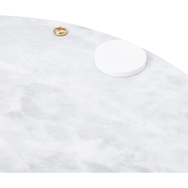 Round Marble Tray with Felt Bumper and Handles (11.8 x 10 x