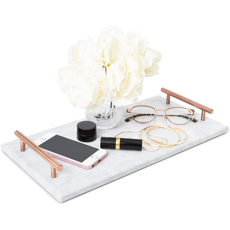 Rectangle Marble Tray with Handles (15 x 7.5 x 0.4 In)