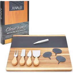 Cheese Board Set with Slate Inlay, Knife and Signs (14 x 11