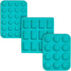 Silicone Baking Mold Set (Teal, 3 Sizes, 3-Pack)