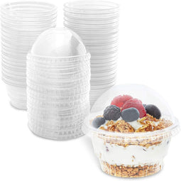 Clear Plastic Ice Cream and Yogurt Cups with Dome Lids (5 oz, 50 Pack)