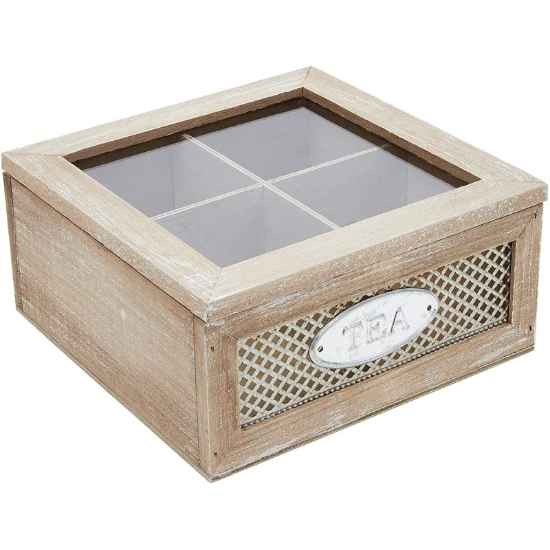 Rustic Wood Tea Storage Box with Clear Lid, 4 Compartments (
