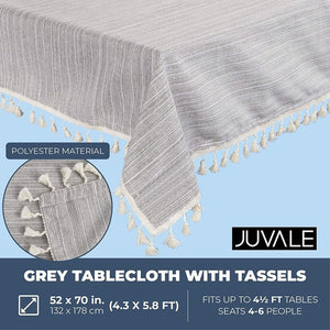 Grey Tablecloth with Tassels, Farmhouse Home Decor (52 x 70 Inches)