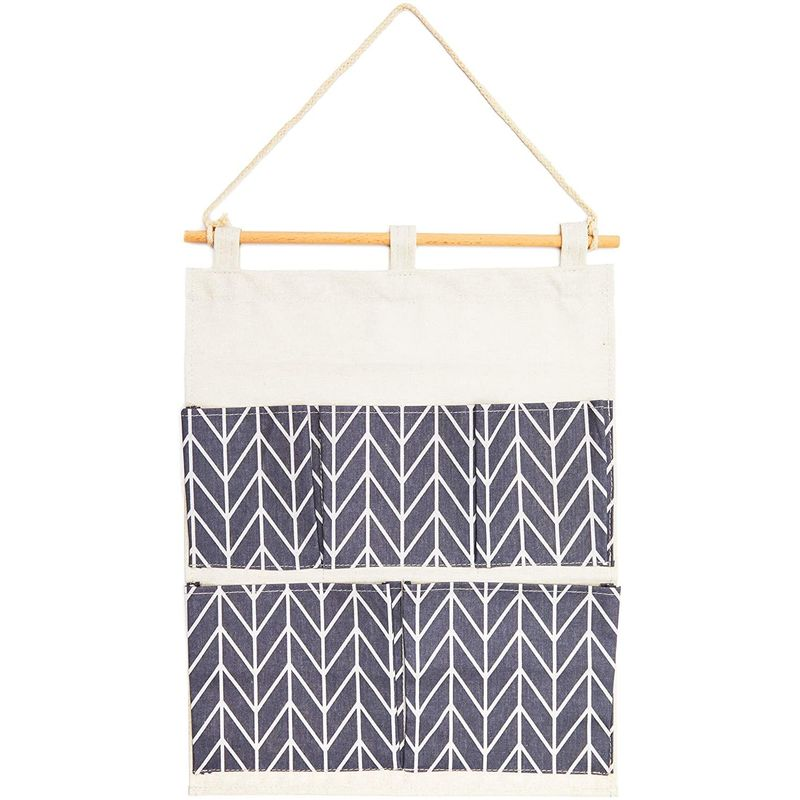 Blue Chevron Stripes Hanging Wall Organizer with 5 Pockets (