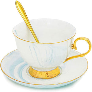 Blue Tea Cup Set with Spoon and Saucer for 1 (7 Oz, 3 Pieces