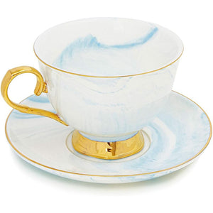 Blue Tea Cup Gift Set with Spoon and Saucer for 1 (7 Oz, 3 Pieces)