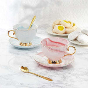 Pink Tea Cup Set with Spoon and Saucer for 1 (7 Oz, 3 Pieces