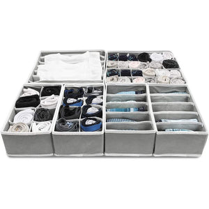 Foldable Drawer Organizer Dividers (11.6 x 6.5 In, Light Gre