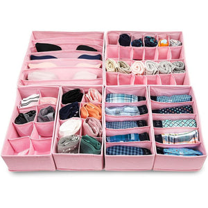 Foldable Drawer Organizer Dividers (11.5 x 6.5 In, Pink, 6-P