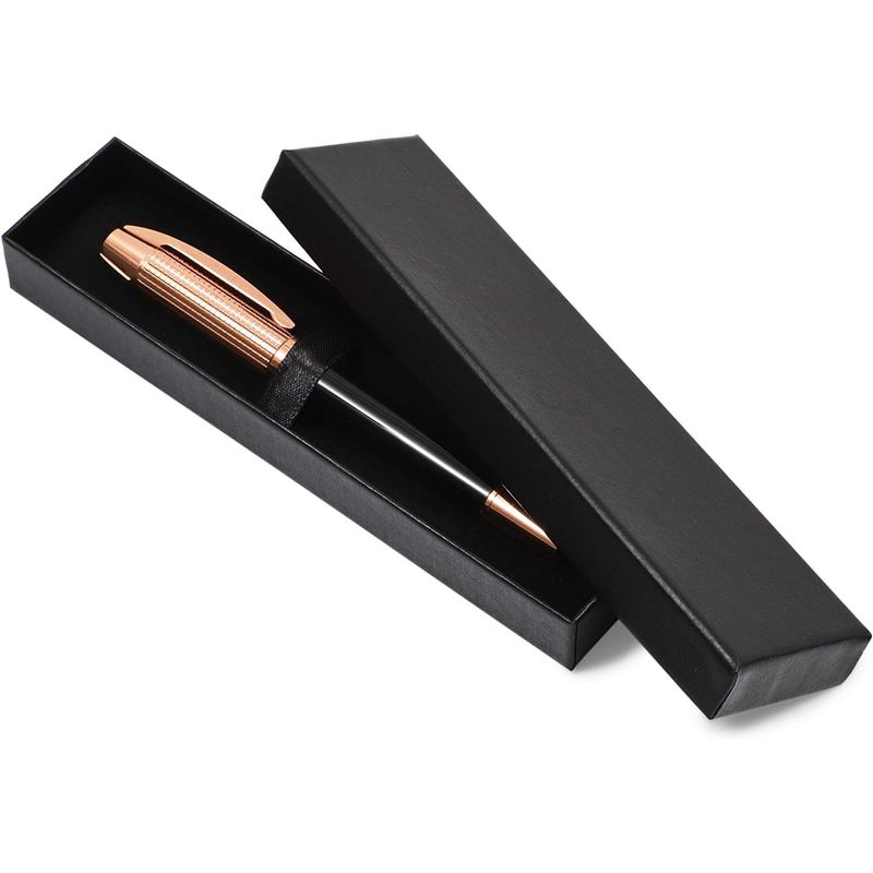Black and Rose Gold Pen Gift Set with Black Box (5.3 Inches)