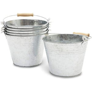Galvanized Metal Buckets with Wooden Handles for Decoration