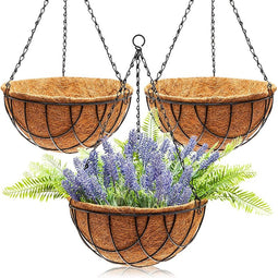 Juvale Metal Hanging Planter Basket with Coco Coir Liner (12