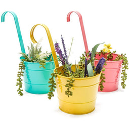 Juvale Metal Bucket Planter, Hanging Planters (3 Colors, 6 i