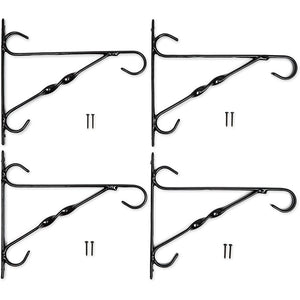 Metal Hanging Plant Bracket Garden Hook (10 Inches, 4 Pack)