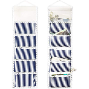 5 Pocket Small Hanging Organizer (Blue, 8 x 26 In, 2 Pack)