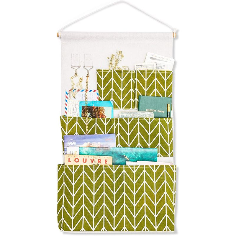 Wall Mounted Organizer with 5 Pockets in Green Chevron Stripes (13 x 23.5 Inches)