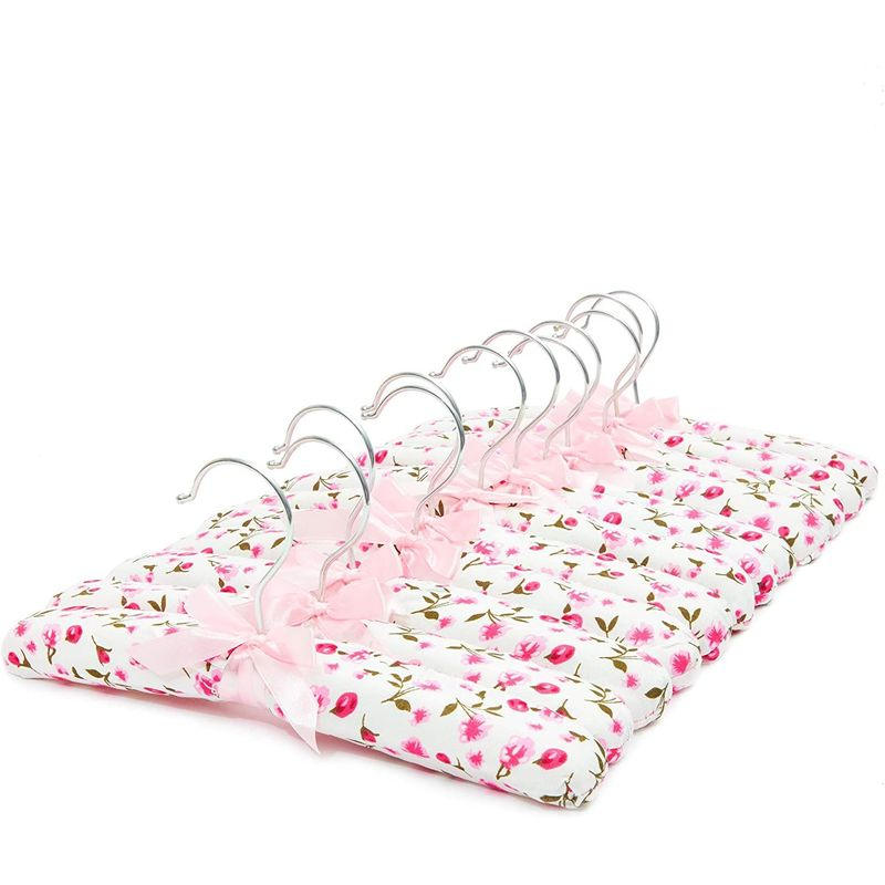 Juvale Satin Padded Hangers in Pink Floral Print, Kids Nursery (13 Inches, 12 Pack)
