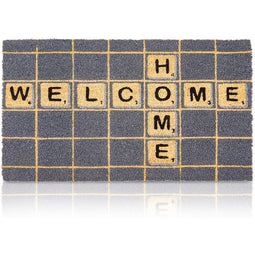 Door Mat in Scrabble Tile Design, Nonslip Coir Welcome Home