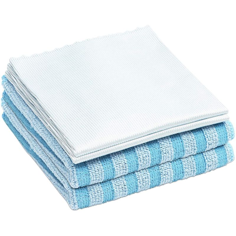 Glass and All Purpose Cleaning Cloths (Blue, 2 Sizes, 4 Pack)