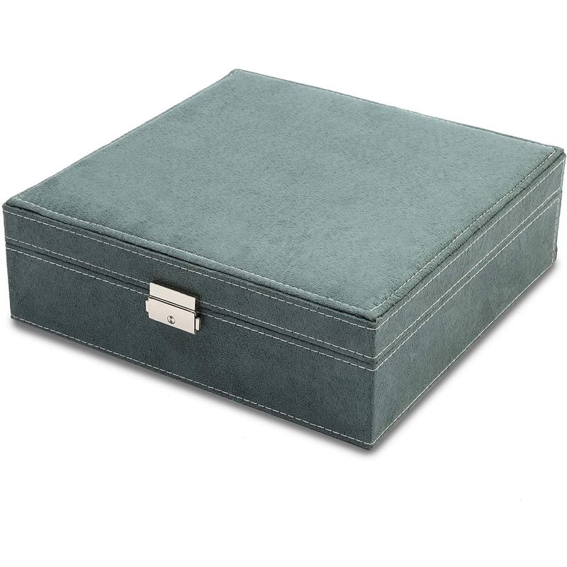Green Velvet Jewelry Display Box Organizer with 2 Layers (10