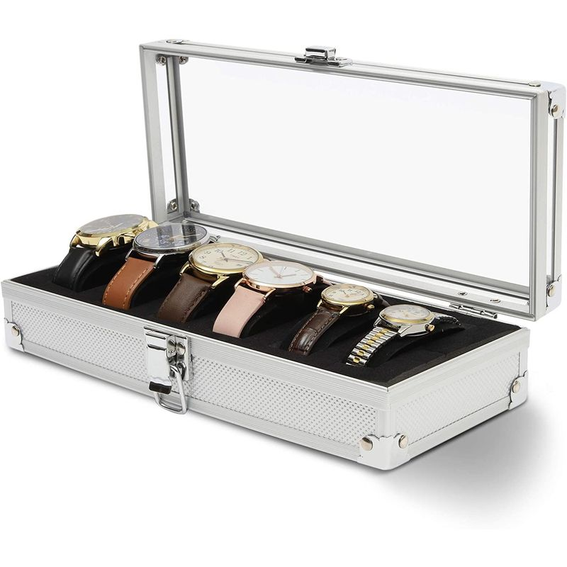 Watch Box Display Case with 6 Slots (10 x 4 x 2.25 in)