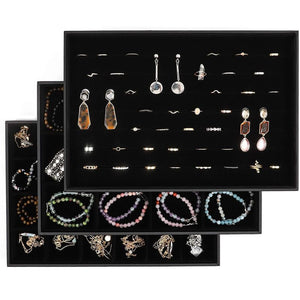 Black Jewelry Storage Trays Organizer Set with Clear Lid (13