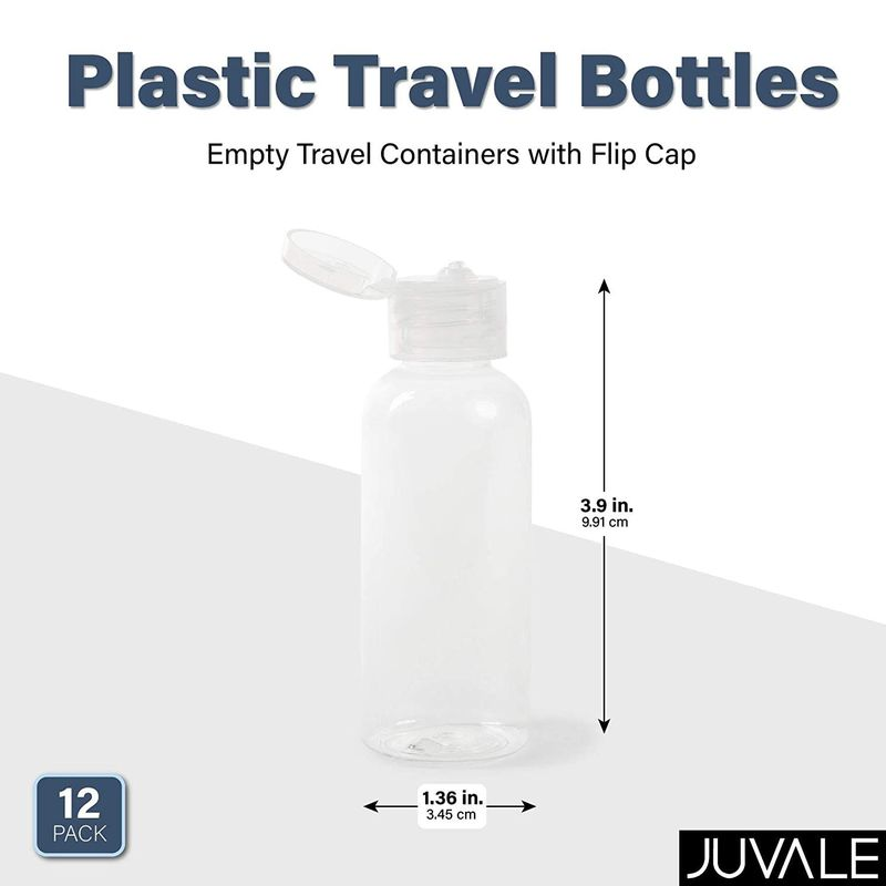 Plastic Travel Bottles, Empty Travel Containers with Flip Cap (2 oz, 12 Pack)