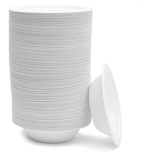 White 12 Oz Sugarcane Bagasse Bowls, Paper Bowls (6.35 x 1.35 Inches, 150 Pack)