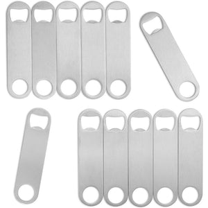 Stainless Steel Flat Bottle Opener (4.8 x 1.2 Inches, 12-Pack)