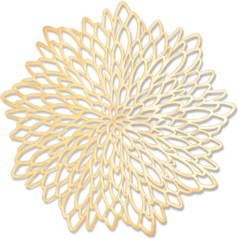 Decorative Vinyl Placemat in Gold Leaf Design (14.4 in, 10 P