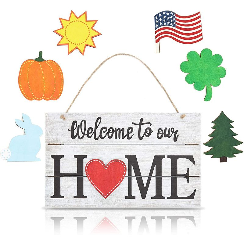 Juvale Interchangeable Welcome Home Sign, Wood Grain Hanging Wall Decor (16 x 9 in, 8 Pieces)