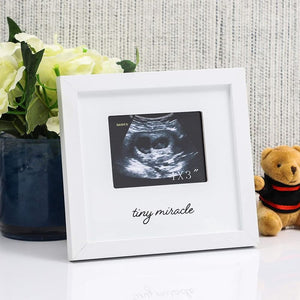 White Sonogram Keepsake Frame for 4 x 3 Ultrasound Photos (7 x 6.5 Inches)