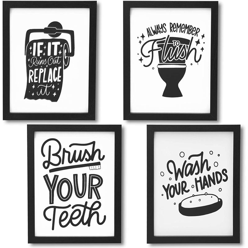 Bathroom Wall Art Prints, Funny Quotes Bathroom Decor (8 x 0.5 x 10 In, 4 Pack)