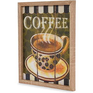 Wooden Coffee Bar Wall Signs, Kitchen Decor (10.2 x 12.6 In, 2 Pack)