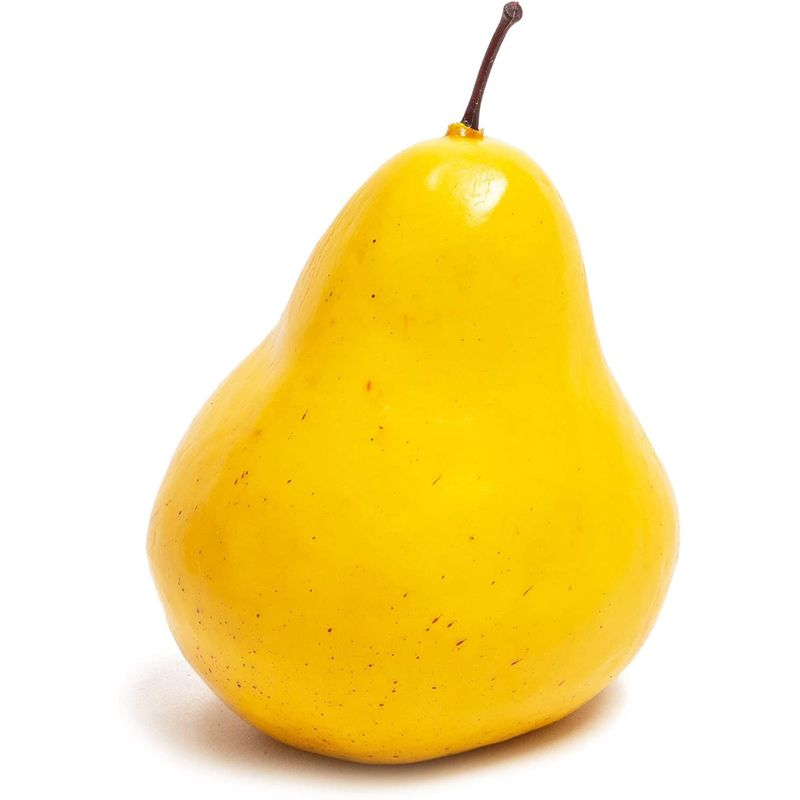 Juvale Artificial Pears, Yellow Faux Fruit Decor (4.3 Inches, 8 Pack)