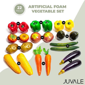 Juvale Artificial Foam Vegetables Set (22 Pack), Assorted