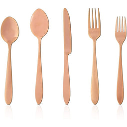 Rose Gold Stainless Steel Cutlery, Flatware Set for 8 (40 Pieces)