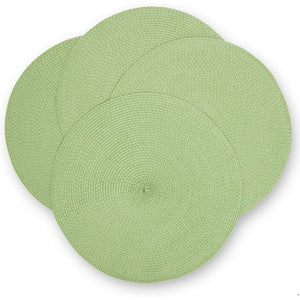 Juvale Round Woven Placemats (Green, 15 in, 4 Pack)